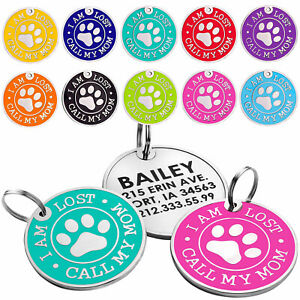 Dog Tag Personalised Pet ID Tag Cat Puppy Tags Custom Engraved Name Enamel Charm