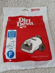 Dirt Devil Type F Vacuum Cleaner Bags (3-Pack) Sealed Package