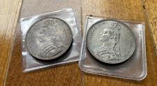 1887,1889 Great Britain Queen Victoria Silver Crown Coin AU Toned (2 Coins)