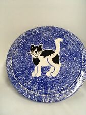 "Sponge Blue Kitty Cat Pedestal Cake Plate 11.25 W 3 "" H"