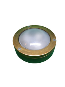 Industrial Bulkhead Light Wall/Ceiling Solid Brass Marine Round In/Outdoor