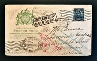 1907 Cover Atlantic City NJ to Melbourne Australia Unclaimed Free Ship