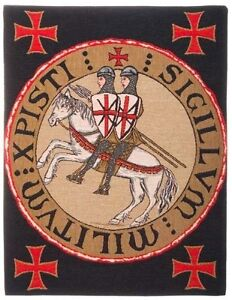 """NEW SCEAU TEMPLIER KNIGHTS TEMPLAR SEAL TAPESTRY LINED WALL HANGING, 23"""" X 18"""""""