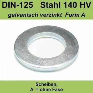 4,3 DIN125 Unterlegscheiben Scheiben Form A Stahl verzinkt f. M4 M 4 mm Unterlag