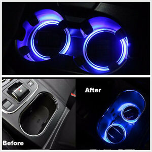 2Pcs Car Solar Cup Holders Bottom Pad LED Light Cover Trim Atmosphere Lamp Light