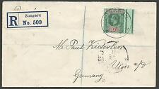 NORTHERN NIGERIA 1913 GV REG ENVELOPE TO GERMANY FRANKED BY MARGINAL 10//-