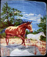 "Two Horses Horse Full/Queen Mink Throw Blanket (78"" x 94"")"