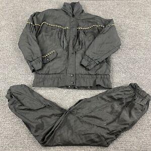 Vtg 90s LAVON Women's Tracksuit 2 Piece Jacket & Pants Petite Small Black Gold
