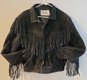 Vintage Wilson Suede Fringe Jacket Black Size L Biker Western