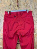 CALVIN KLEIN GOLF, Mens W34 L33, Red, Rear Pkt Logo, Reg Fit Golf Trousers,*VGC*