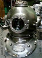 X-Mas 18 Inch Us Navy Diving Helmet Mark V Deep Sea Divers Helmet Vintage Red