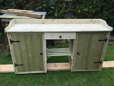 potting bench / table with cupboards wooden hand made