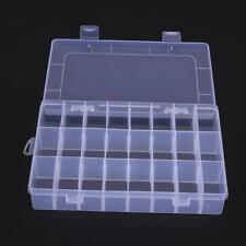 Plastic 24 Grids Jewelry Box Organizer Storage Container w/ Adjustable Divider