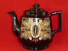 Elegant Antique Victorian Blackware/Jackfield Gilt Lace & Enamel Teapot c1890