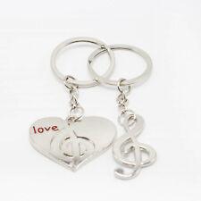 Romantic Couple Pendant Jewelry Music Note Keychain Love Heart Key Ring