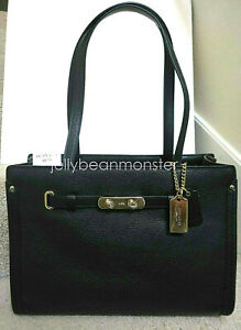 COACH 34915 SWAGGER POLISHED PEBBLE LEATHER CARRYALL TOTE BAG PURSE S Black New