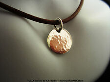 Hammered Sterling Silver Circle Disc Pendant on Leather Cord Necklace