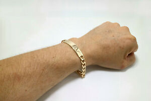 "High Polished Quality 18k Gold Layered Flat Men's Curb Chain ID Bracelet 9"" Long"