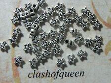50pcs. Tibetan Silver Star Spacer Beads Findings 4mm ✰✰USA Seller✰✰