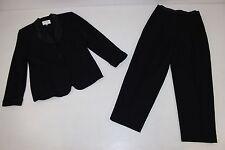 Valerie Stevens Womens Sz 10 P Matching Black Wool 2 Pc Suit Jacket Pants Lined