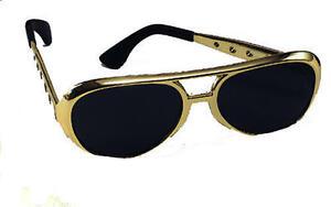 Gold Elvis Presley Sunglasses Glasses The King Pop Star Fancy Dress American 50s