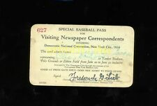 1924 Baseball Pass - Yankee Stadium / Polo Grounds / Ebbets Field - Babe Ruth HR