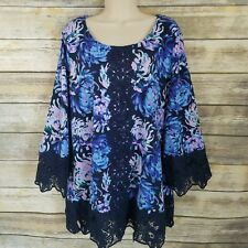 Isaac Mizrahi Live! Size L Printed Tunic with Lace Details Blue Floral Womens