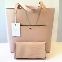 Ted Baker Leather Cream Shoulder Handbag Natural Exotic Tote Bag