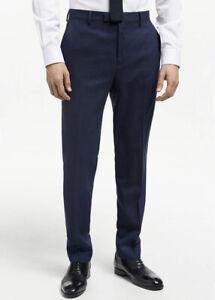 John Lewis Pure New Wool Birdseye Tailored Trousers - Navy / UK 34L