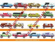 MATTEL HOT WHEELS REDLINES FIRST 16 CARS MATTE FINISH  POSTER PRINT FROM ARTIST