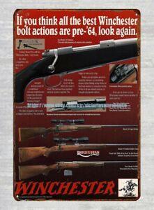 Winchester Model 70 Bolt Action Rifle metal tin sign lodge cafe nostalgic