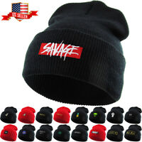 Embroidered Cuffed Beanie Skully Patch Knit Hat Winter Cap