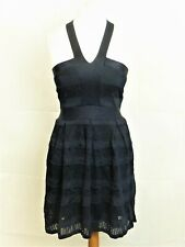 French Connection Lace Bandage Navy Bodycon Dress Size 14 UK Cr092 DD 09