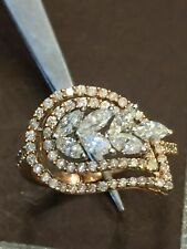 1.07 Carats Round Marquise Cut Natural Diamonds Anniversary Ring In 585 14K Gold