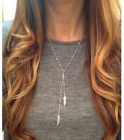 Bohemian Filigrane Y-Kette Halskette SILBER Style Blogger Simple Federn Damen