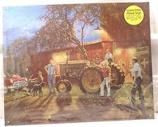 John Deere Tractor Scene Farm Horseshoes Game Metal Tin Sign New