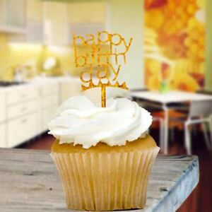 Gold Glitter Happy Birthday Cupcake Toppers x8 Baking Pick Decoration