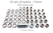 Boat Cover/Canopy Fittings - Eyelet kit 7.9mm with tools brass nickel plated