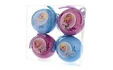 Confezione di 4 palline decoupage Frozen Anna & Elsa Tree Decorazioni Nuovo 25092