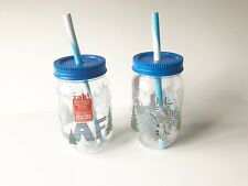 2 - NEW DISNEY FROZEN OLAF PLASTIC MASON JARS ZAK WITH STRAW LOT Kids Cup