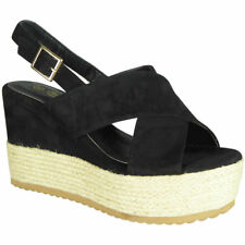 Womens Strappy Wedges Ladies Espadrilles Platform New Mid Heel Wedge Shoes Size