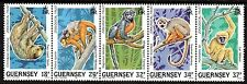 GUERNSEY 1989 10TH ANNIVERSARY ZOOLOGICAL TRUST STAMP SET MNH SG 469-473
