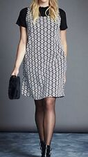 Daisy Shift Dress. In Black And Ivory. Size 18. By Simply Be.