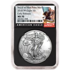 2018 (W)  $1 American Silver Eagle NGC MS70 Black ER Label Retro Core