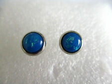 STAINLESS STEEL BLUE FIRE OPAL STUD EARRINGS 8MM