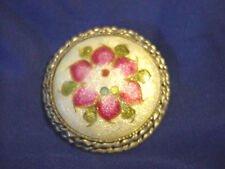 "Cloisonne Enamel Vintage Round Dome Pin Brooch 1 1/2 "" across"