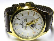 mens Croton Triple Calendar day date month moonphase gold plated dress watch