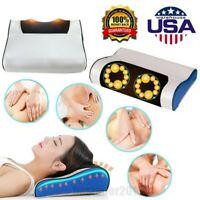 Electric Lumbar Neck Back Massage Pillow Massager Kneading Cushion Heat Home USA