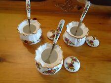 Royal Albert Old Country Roses 3 Dorothy pots /  small lidded sugar+ spoons
