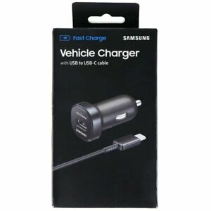 NEW Samsung Vehicle Fast Charger with USB to USB-C Cable Black EP-LN930CBEGUS